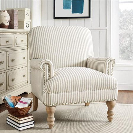 Dorel Living Jaya Accent Chair, Beige Stripe