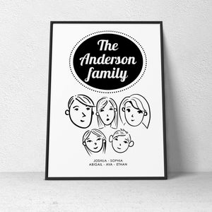 Family Poster - Cartooned
