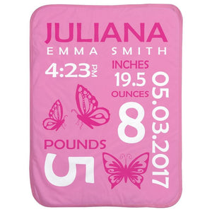 Personalized Baby Stats Butterflies Blanket