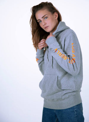 LA_B Logo Stripe Hoodie heather grey yellow women