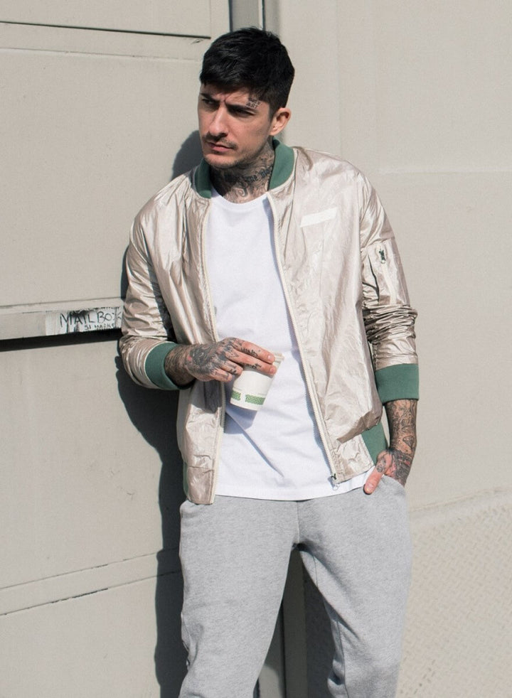 LA_B Coated Tyvec Jacket Platinum men