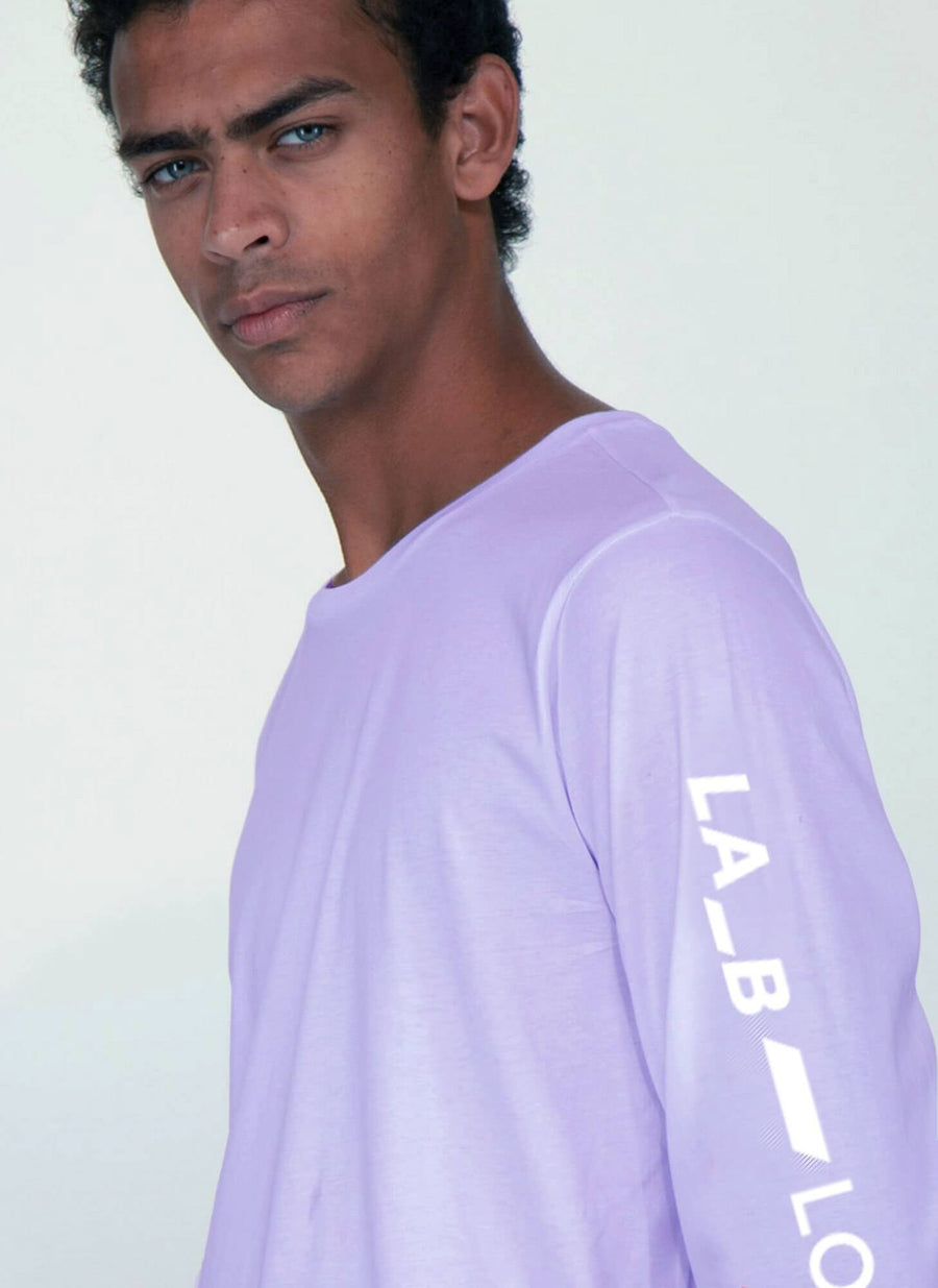 LA_B Logo Stripe Long Sleeve lilac men