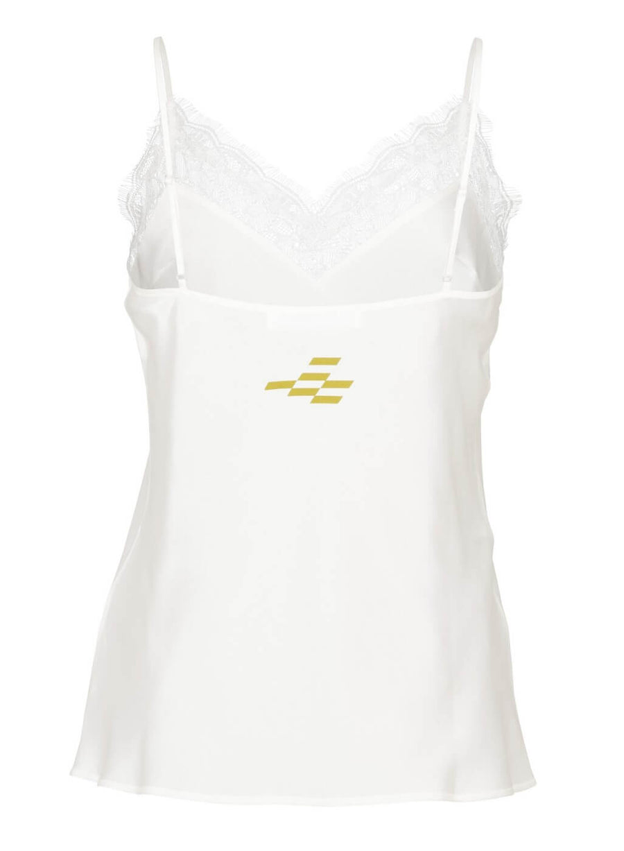 LA_B off-white Silk Top with Lace Trim women