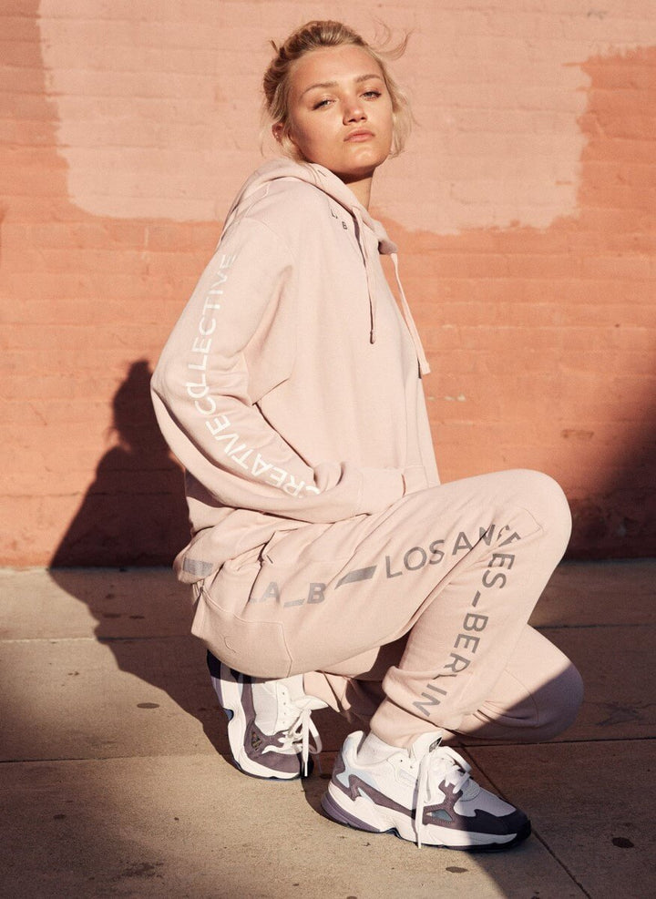 LA_B Logo Stripe Sweatpants tech rose women