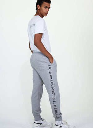 LA_B Anthracite Logo Stripe Sweatpants Heather Grey men