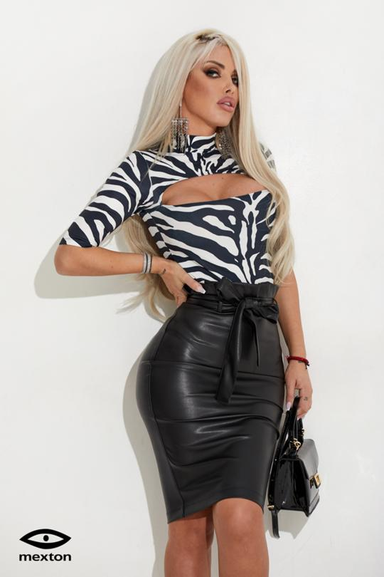 HIGH WAIST LEATHER SKIRT 7207