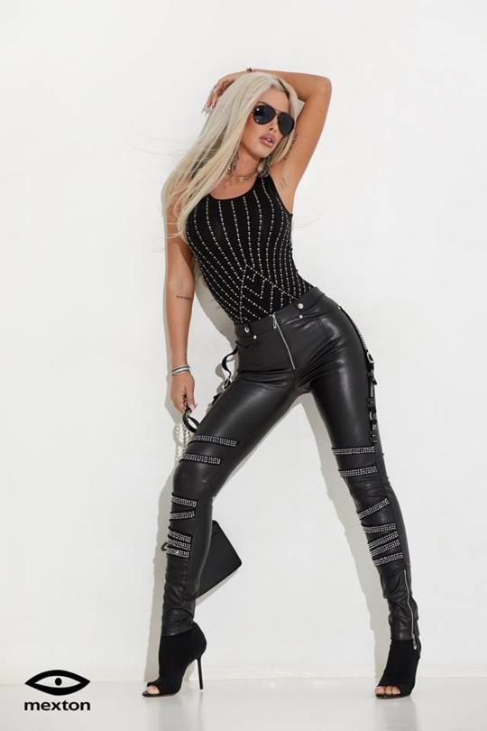 LEATHER PANTS WITH RHINESTONES 7201