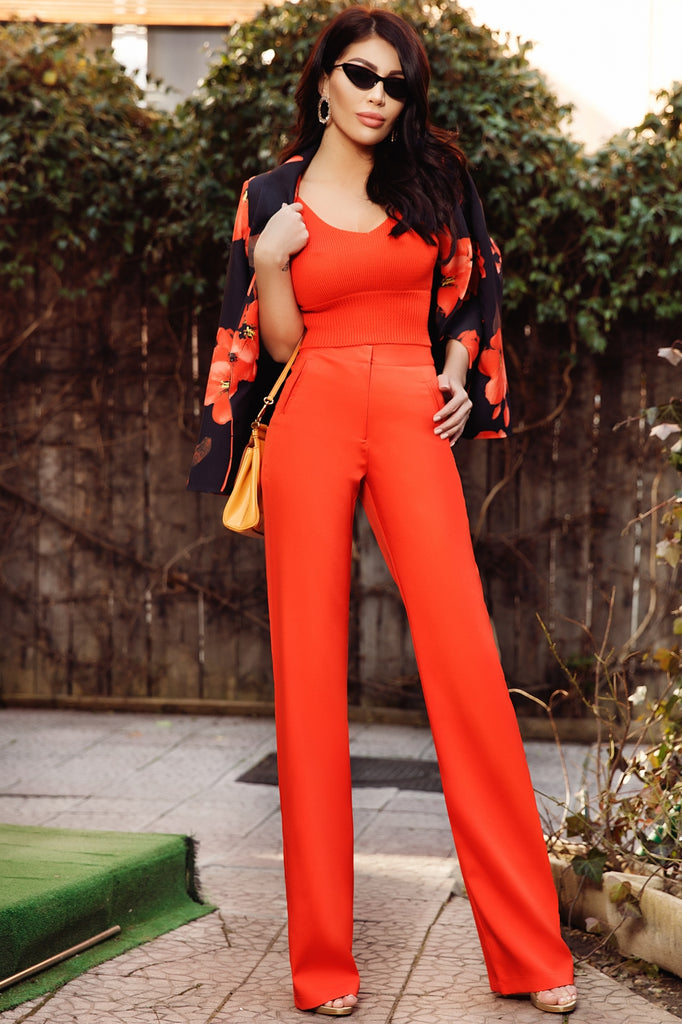 HIGH WAIST CORAL TROUSERS P 972