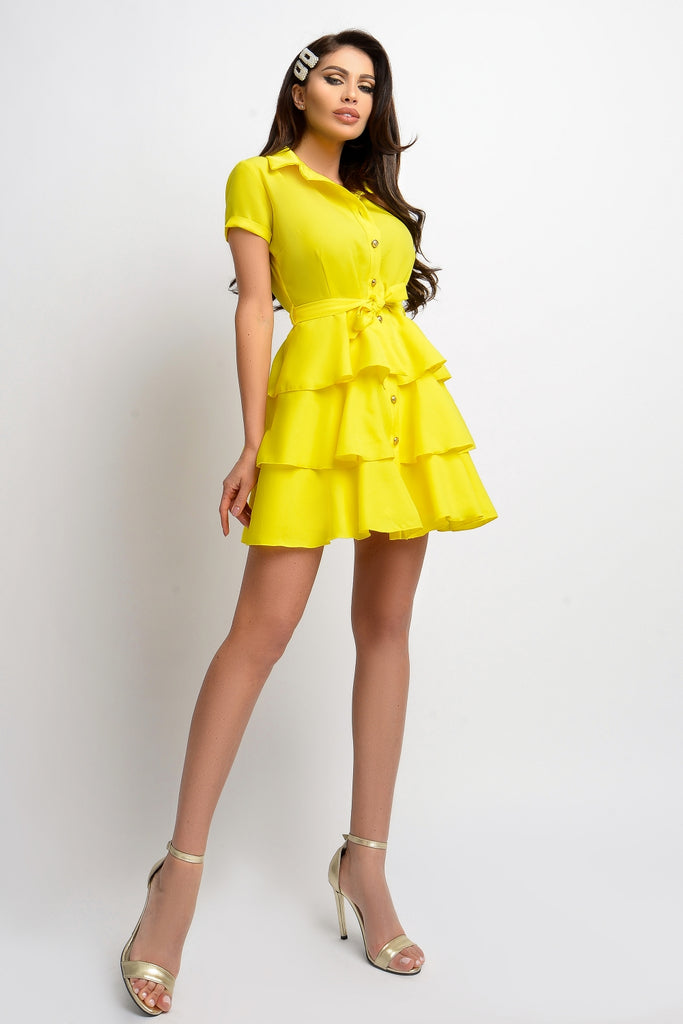YELLOW SHIRT DRESS WITH RUFFLES RN 1856G