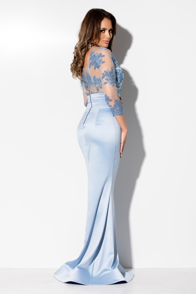 LONG  BLUE  DRESS WITH LACE TO THE BUST RN 2281