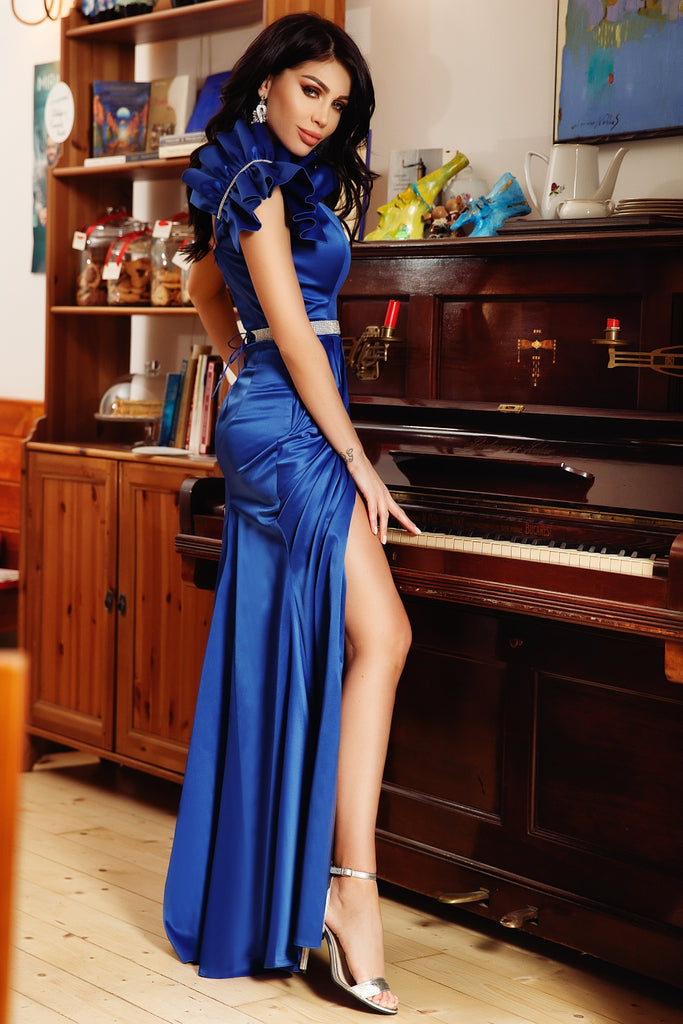 LONG DRESS, ELEGANT BLUE TAFFETA RN 2114A
