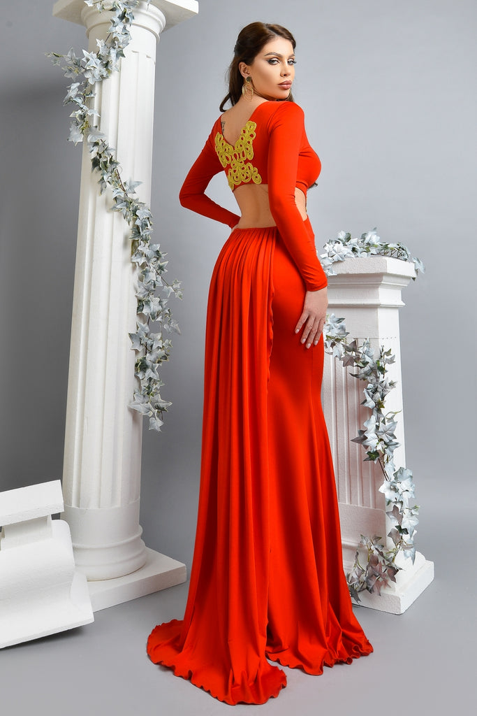 LONG  LYCRA DRESS WITH GOLD EMBROIDERY RN 2365
