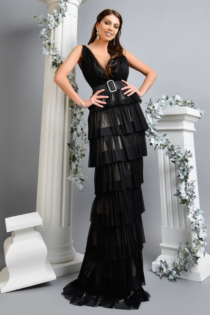 LONG BLACK SILK TULLE DRESS RN 1767N
