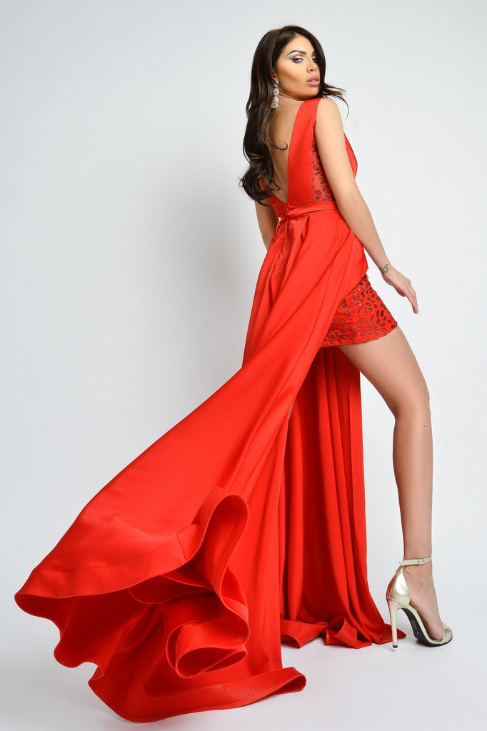 LONG RED TAFFETA DRESS RN 2326