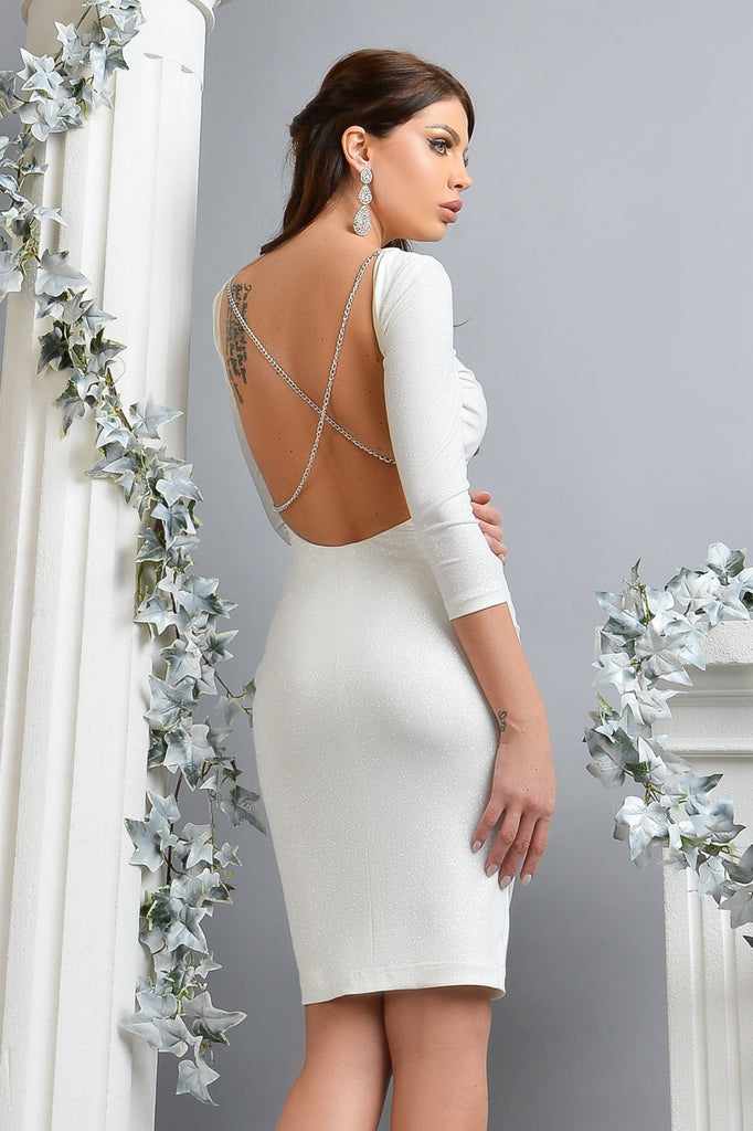 MIDI WHITE DRESS WITH GLITTER RN 2364