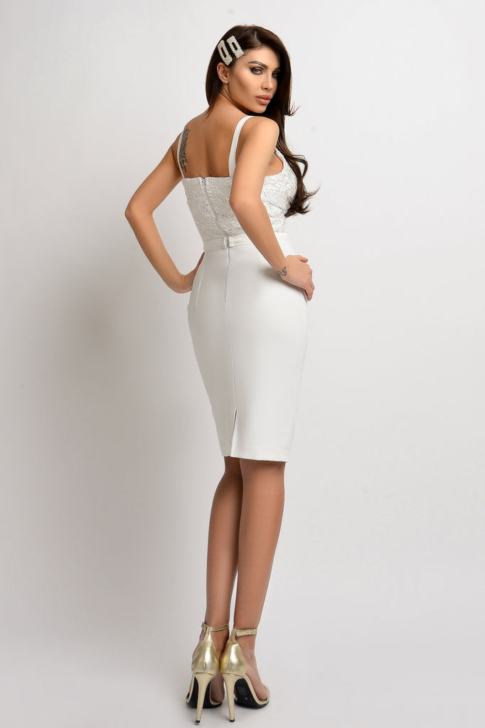 WHITE  DRESS WITH LACE AT BUST RN 2307