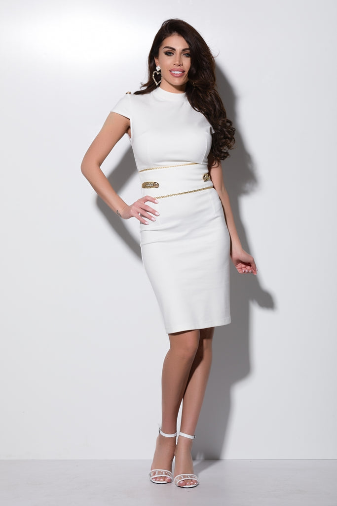 WHITE JERSEY DRESS WITH GOLD ACCESSORIES RN 2243A