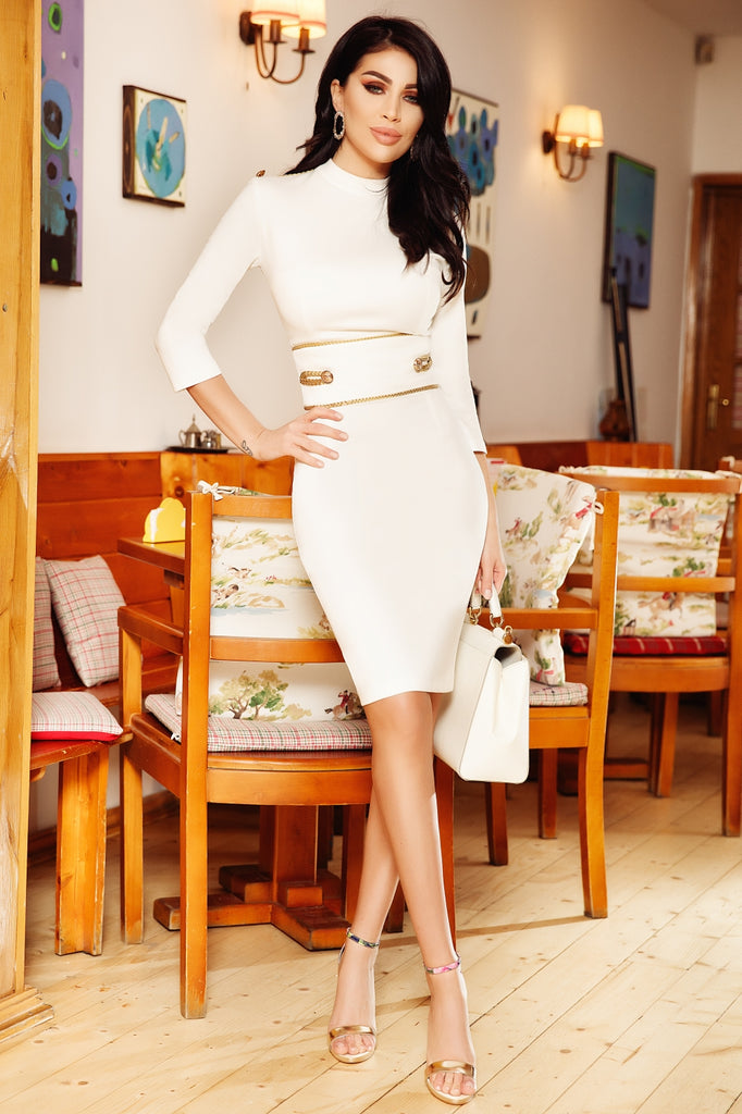 WHITE DRESS LONG SLEEVES, WITH GOLD ACCESSORIES RN 2243