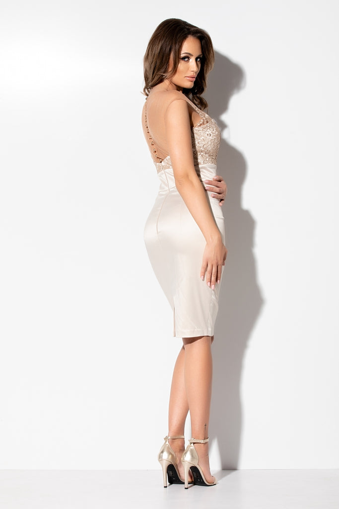 MIDI DRESS WITH GOLDEN LACE RN 2280