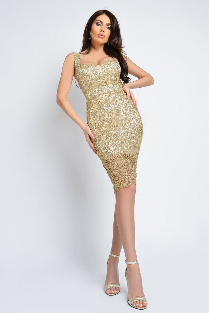 GOLDEN LACE DRESS WITH SEQUINS RN 2319