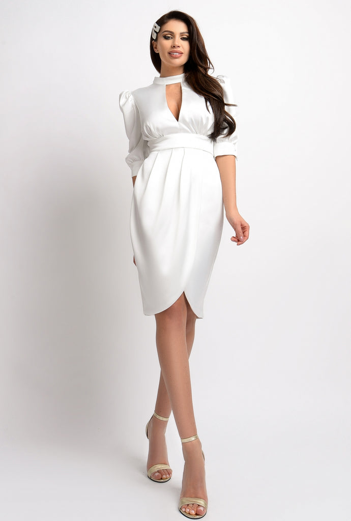 WHITE TAFFETA MIDI DRESS RN 2318