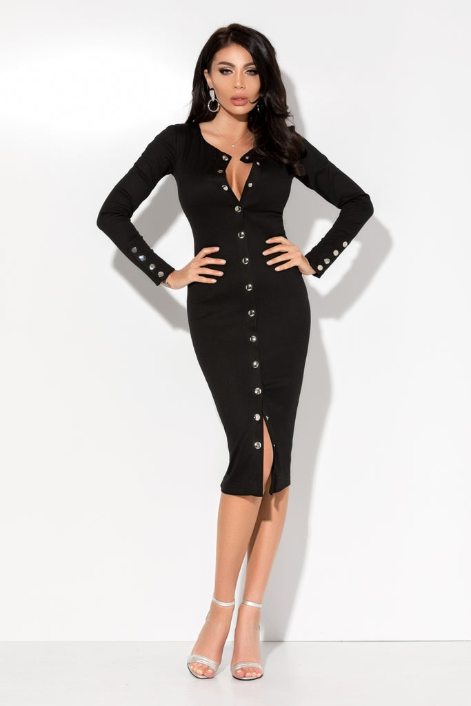 BLACK TETRA DRESS WITH SILVER SNAP BUTTONS RN 2213