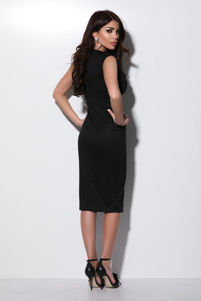 MIDI BLACK TETRA DRESS WITH SILVER SNAP BUTTONS RN 2285