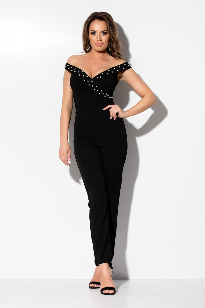 BLACK JUMPSUIT WITH PEARLS SL 978