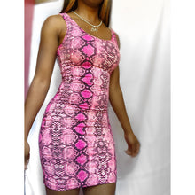 Load image into Gallery viewer, Barbiana Pink Snake Print Dress - Delirious Boutique