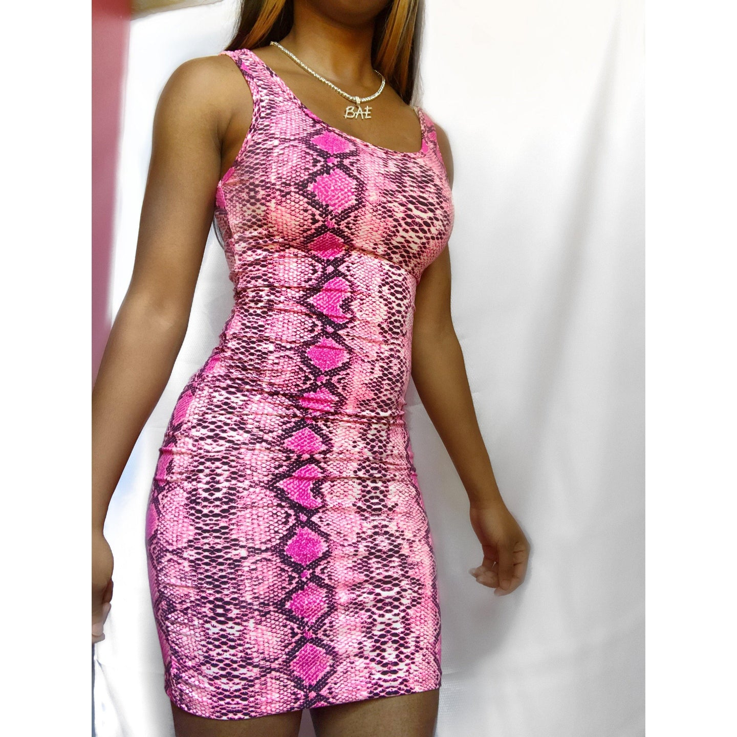 Barbiana Pink Snake Print Dress - Delirious Boutique