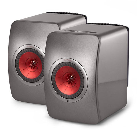 LS50 Wireless Active Speakers In Titanium Grey and Red
