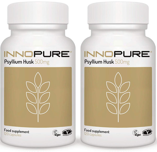 2-Pack, Pure Psyllium Husk, 120 Caps, 500mg per Cap, Innopure, Twin-Pack
