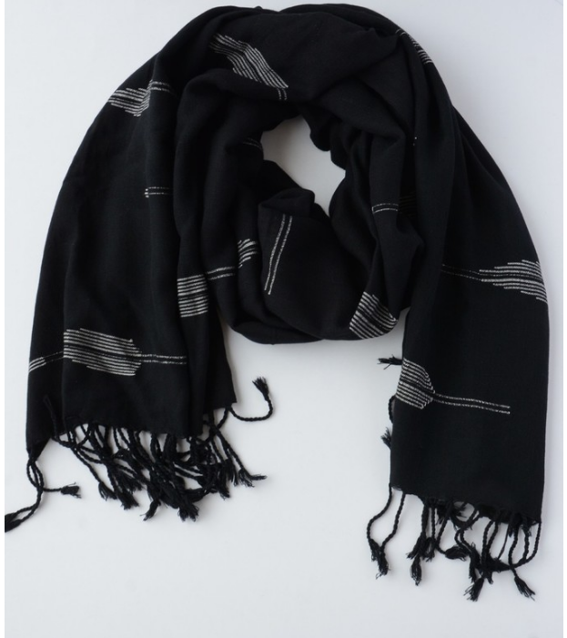 Fallon Feather Scarf - Black and White