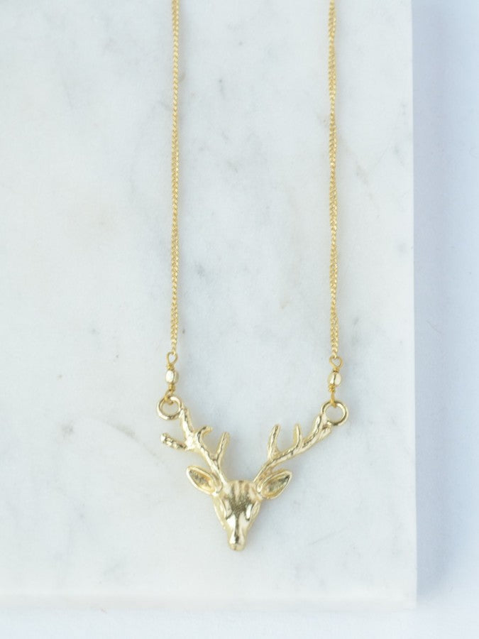 Deborah Deer Necklace - Brass