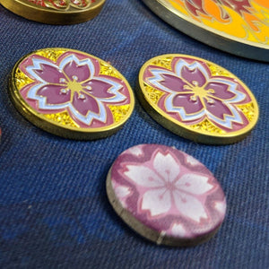 Custom Token - Summer Gold Sakura Coin - Unofficial L5R LCG Fate/Honor Metal Token