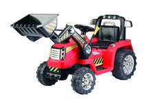 12V Battery Operated Children's Ride-on Tractor with Moveable Front Bucket - Red
