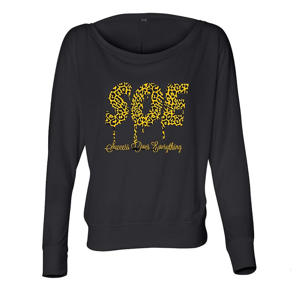 Soe Leopard Off The Shoulder Tee-Black - shopsoeclothing