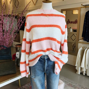 Pink Orange and White Striped Fuzzy Sweater