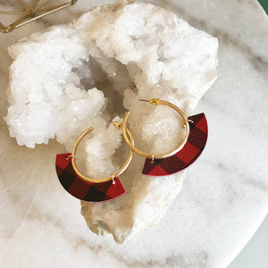 Buffalo Plaid Hoop Earrings