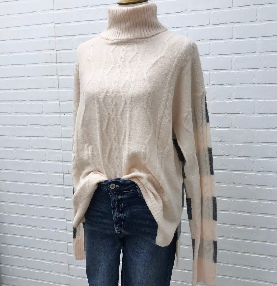 Beige Turtleneck Sweater with Striped Back