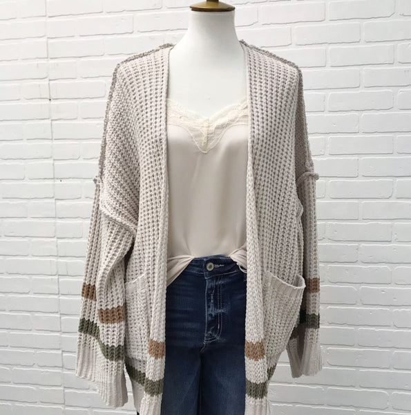 Beige Cardigan with Striped Sleeves