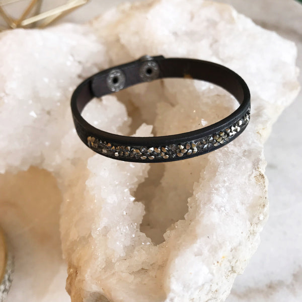Black Snap Bracelet with Hematite Stones