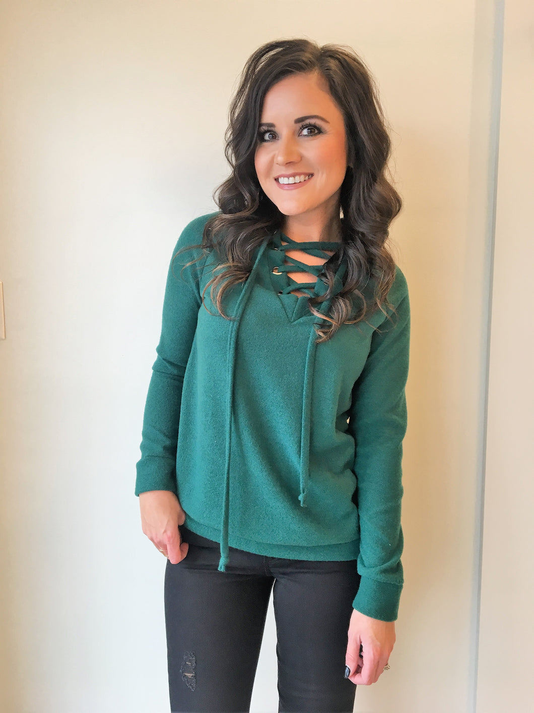 Green Lace Up Sweater