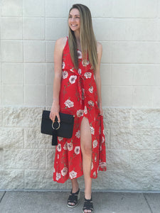 Red Floral Front Slit Maxi Dress