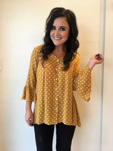 Mustard Polka Dot Button Down