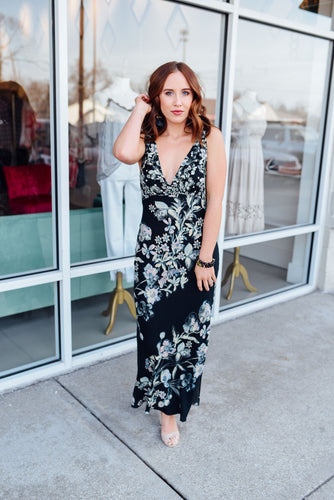 Black Floral Maxi Dress with Lace Up Back