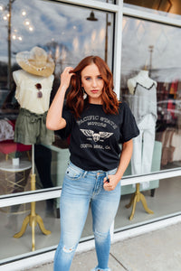 Black vintage tee with Pacific State Motors design - Sugar Threads Boutique