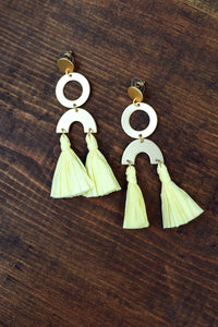 Gold Circle Earrings with Yellow Tassel
