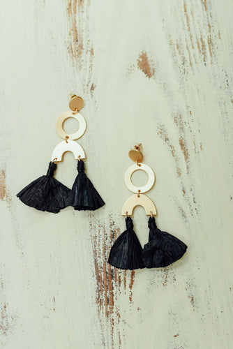 Gold Circle Earrings with Black Tassel