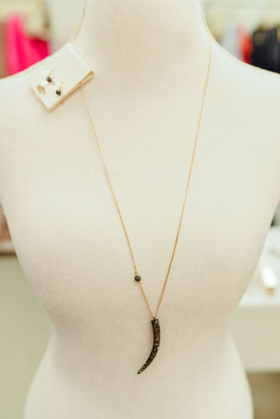 Gold and Silver Tusk Necklace Set